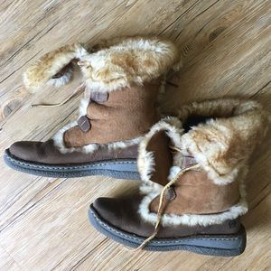 Born Leather and Shearling Lined Boots